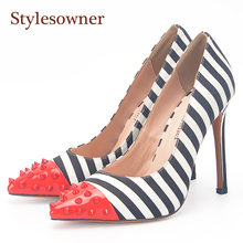 Stylesowner Zebra Stripe High Heel Shoes Thin Heel Stiletto Sexy Lady Red Rivets Toe Zapatos High Quality Sheepskin Leather Shoe цена