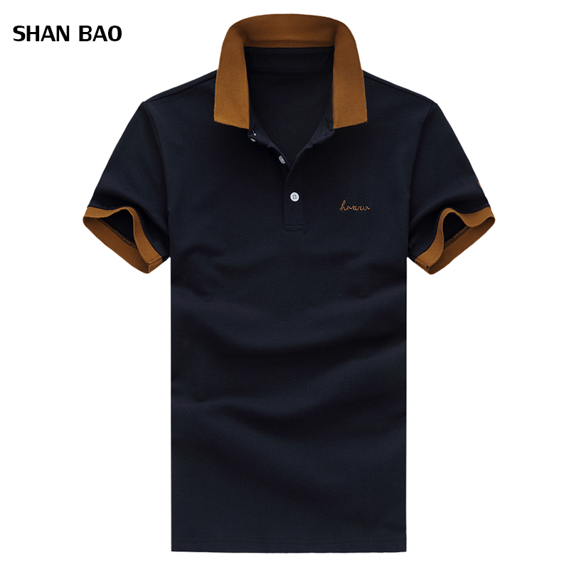 SHAN BAO Brand clothing New Men Polo Shirt Men Business & Casual solid male polo shirt Short Sleeve breathable polo shirt 5XL
