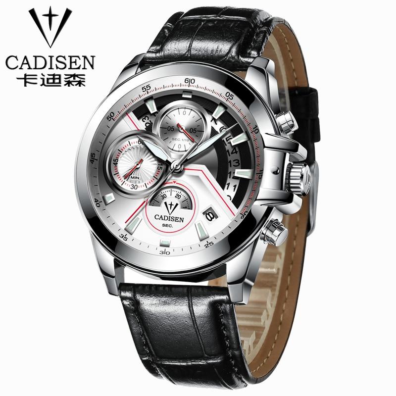 ФОТО 2017 leather Watch Men Luxury Brand CADISEN Military Sport Quartz Watch Men's Wristwatches army Clock men relogio masculino