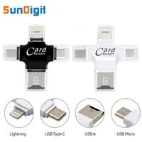 4 In 1 High Quality Type C Micro USB TF Micro SD Lightning Card Reader For