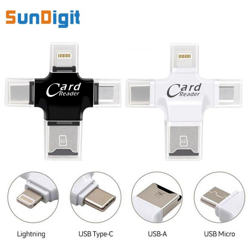 4 en 1 Alta Calidad tipo-c micro USB TF Micro SD lector de tarjetas del relámpago para Android para iPad para el iPhone 7 6 5 se OTG adaptador