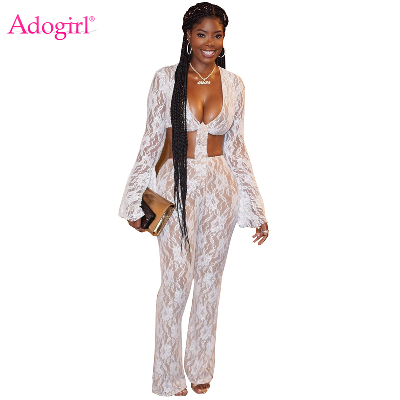 9d8f8726c3716 Adogirl White Floral Lace Women Two Piece Set Front Tie Bow Sexy V Neck Bell  Sleeve