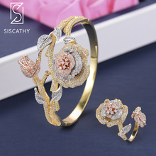 SISCATHY 2PCS Fashion Flower Bangle Adjustable Ring Three Tones Cubic Zirconia Inlaid Bridal Wedding Bracelet Ring Jewelry Sets