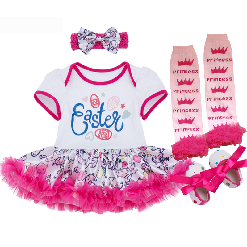 2018 Baby Newborn Clothes Set 1st Easter Day Girl Suit Romper Tutu Dress Bebe Girl 100%Cotton Children Clothing Set High Quality baby girl 1st birthday outfits short sleeve infant clothing sets lace romper dress headband shoe toddler tutu set baby s clothes