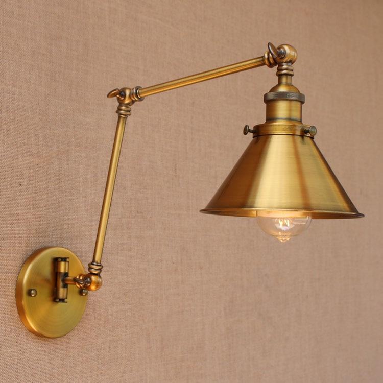 Nordic Brass Retro Loft Style Industrial Vintage Wall Lamp Adjustable Swing Arm Wall Light Edison Sconce Applique Murale