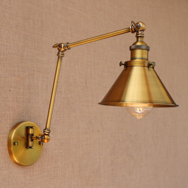 Nordic Brass Retro Loft Style Industrial Vintage Wall Lamp Adjustable Swing Arm  Wall Light Edison Sconce Applique Murale In Wall Lamps From Lights ...