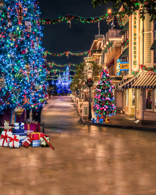 Lights Village Country Christmas Tree Street Backgrounds For Sale Vinyl Cloth High Quality Computer Printed Party