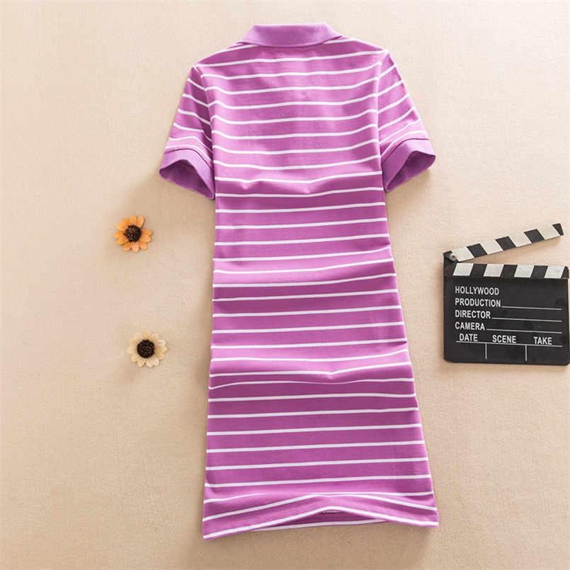 Nowa moda Slim paski druku Polo Party T koszula Mini krótka sukienka na co dzień letnie kobiety Vestido De Festa elegancki bawełna vestidos