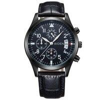 BIDEN Top Brand Men S Sport Quartz Watche Men Calendar Leather Wristwatch Men S Gift Relogio
