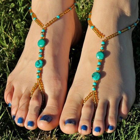 Bohemia gold color beads anklet Bracelet women foot chain for vintage Green stone leg ankle jewelry