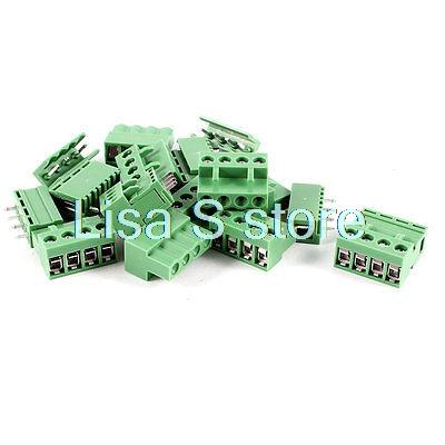 10 Pcs 4Pin 5.08mm Pitch PCB Screw Terminal Block Connector 300V 10A AWG14-26