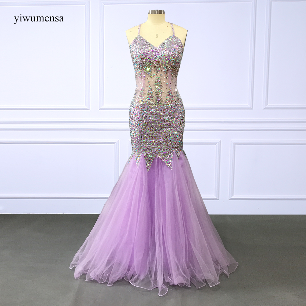 yiwumensa Luxury Purple Tulle Sliver Beaded Evening dress 2018 Custom made sexy Tank Mermaid Formal Evening dress Bridal Gowns(China)