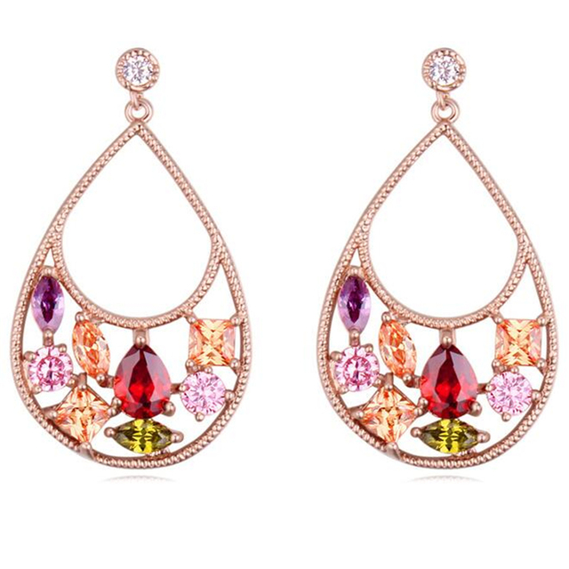 Bohemian Earrings Aaa Cubic Zirconia Teardrop For Women Ethnic Piercing Ear Dangle Chandelier