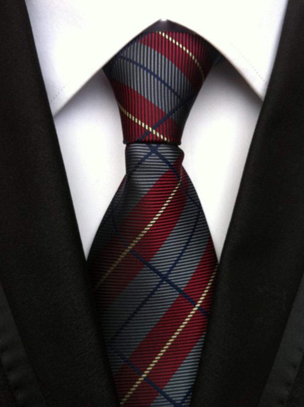 Fashion Mens Gray Wine Red Stripes Silk Tie Necktie