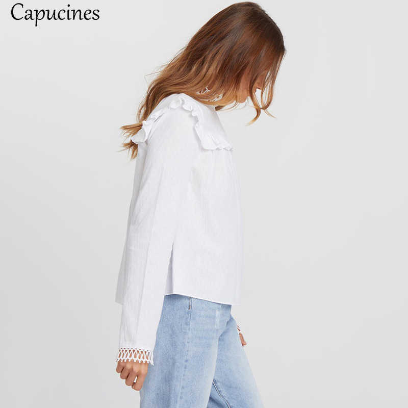White Ruffle Trim Cotton Shirt Lace Stitching Blouse Women Long Sleeve O-Neck Casual Autumn Blouses Tops Office Lady Work Shirts
