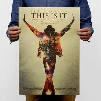 Michael Jackson Vintage Retro Rock Band Musik Gitarre Matte Kraft Papier Antike Vintage Poster Wand Aufkleber Wohnkultur 51*35,5 CM