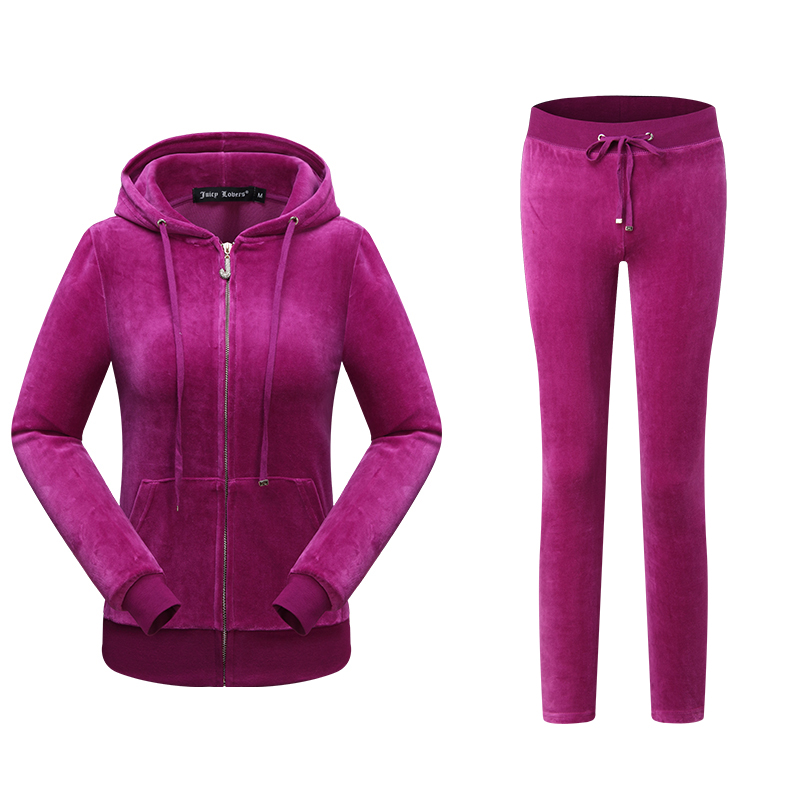 Juicy Lovers Brand Women Sporting Suits Black Nevy Blue Pink Slim Velvet Womens Casual Tracksuits Hooded