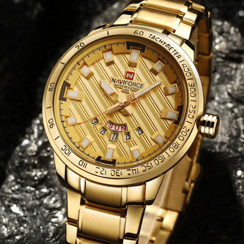 2017 NAVIFORCE Gold Watch Men Watches Top Brand Luxury Famous Wristwatch Male Clock Golden Quartz Wrist Watch Relogio Masculino chenxi wristwatches gold watch men watches top brand luxury famous male clock golden steel wrist quartz watch relogio masculino