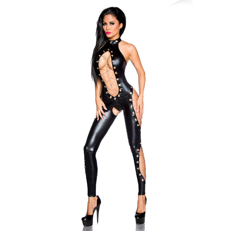 Steampunk Pvc Vinyl Leder Körper Strumpf Sexy Halter Latex Catsuit Gothic Frauen Pole Dance dessous sexy hot Erotic Body