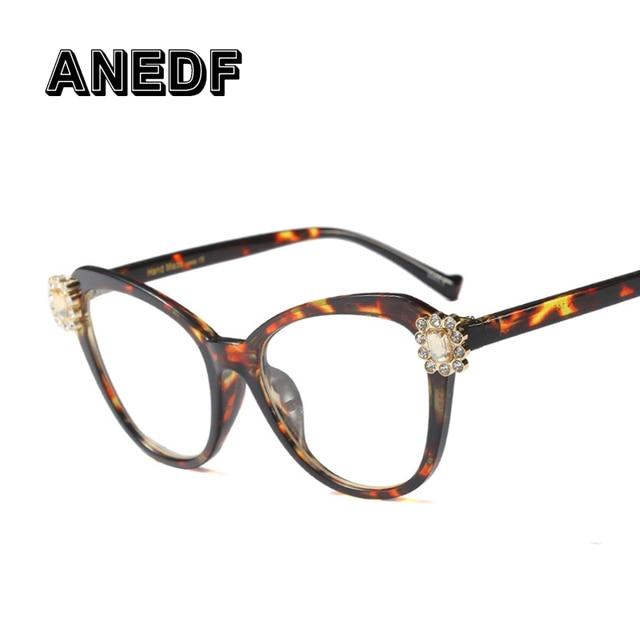 4dce2835bffa7 ANEDF Brand Designer Optical Fashion Eyewear Crystal Luxury Glasses Frames  Women Rhinestone Cat Eye Computer Glasses