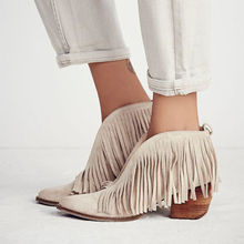 Women Block High Heels Fringe Chelsea Boots Winter Fall Genuine Leather Pointed Toe Tassel Cowboy Short Martin Ankle Boot Shoes