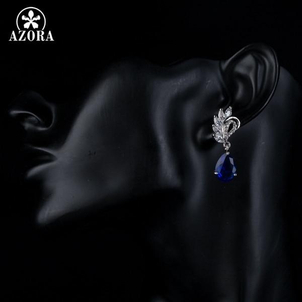 AZORA Κομψή σαφής και σκούρο μπλε χρώμα - Κοσμήματα μόδας - Φωτογραφία 4