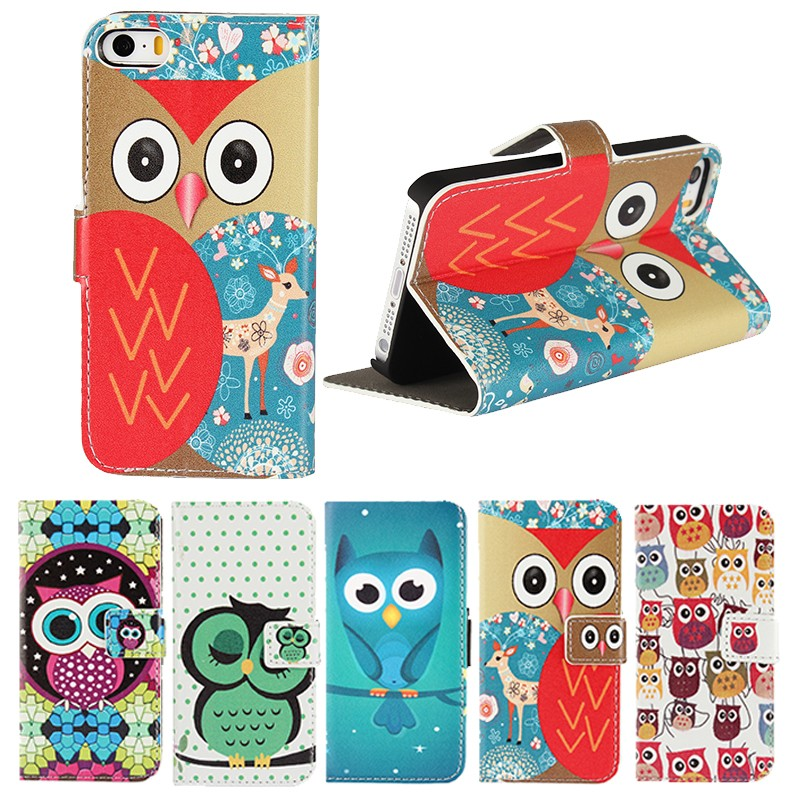 Owl Leather Wallet Cases For Apple iPhone 5S 5 S SE Flip Case Cover Soft Shell Hoesjes Capa Carcasa Coque Fundas Etui Capinhas