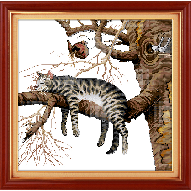 Everlasting love Christmas A lazy cat Chinese cross stitch kits Ecological cotton counted stamped 14CT New store sales promotion