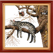 Everlasting love Christmas A lazy cat Chinese cross stitch kits Ecological cotton counted stamped 14CT New store sales promotion(China)