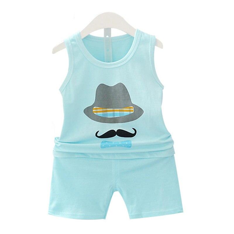 2 шт. одежда для маленьких мальчиков и девочек комплект летняя детская одежда Детская жилетка короткие штаны Детские Костюмы для маленьких ...