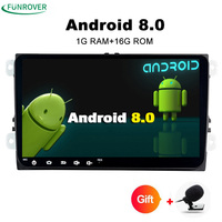 Funrover Android 8.0 Two Din 9 Inch Car DVD Player Stereo System For VW/Volkswagen/POLO/Golf/Skoda/Octavia/Seat Radio No DVD