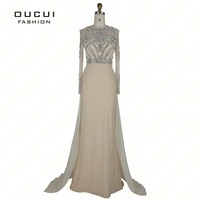 Real Photo Formal Long Sleeves Gown See Through Back Beading Handwork Prom Evening Dresses OL102345B