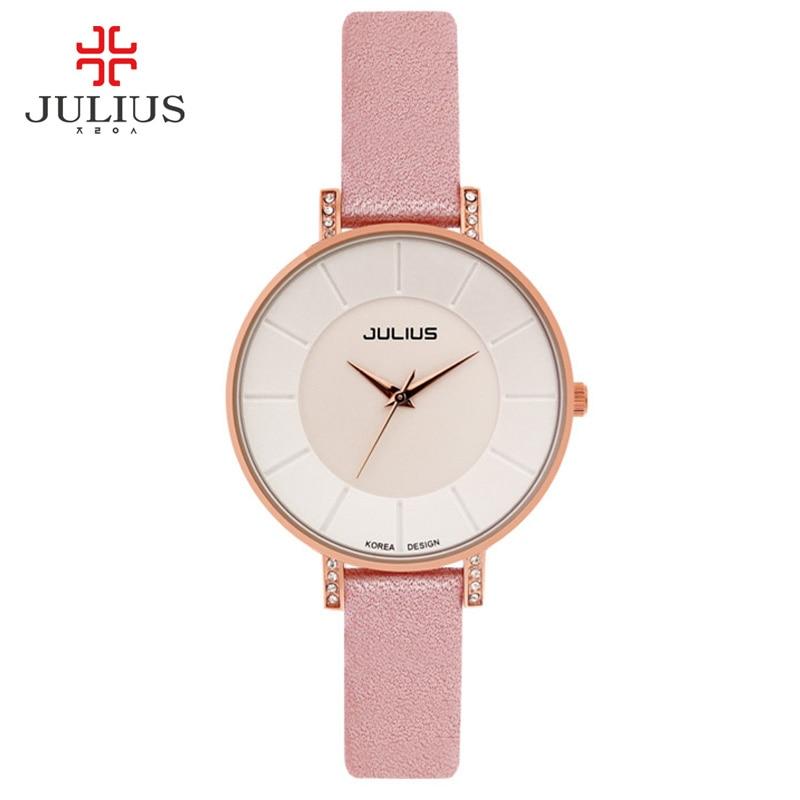 JULIUS Ultra thin 8mm Women Slim Dress Watch Fashion Casual Brand Luxury Wachs Leather Ladies Simple