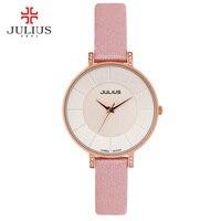 JULIUS Ultra thin 8mm Women Slim Dress Watch Fashion Casual Brand Luxury Wachs Leather Ladies Simple Designer Wristwatch JA 766
