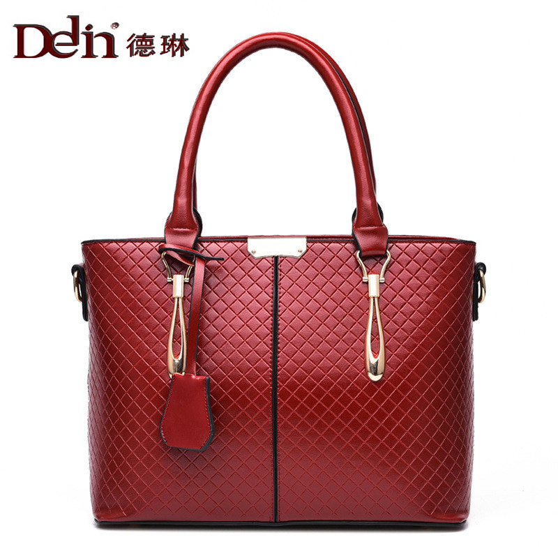 DELIN Lady handbag fashion pu leather handbag hand holding packages The European and American fashion ling handbag holding the line