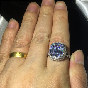 Image 5 - Choucong Große Luxus Ring 925 sterling Silber Kissen cut 8ct AAAAA Zirkon cz Engagement Hochzeit Band Ringe Für Frauen Schmuck