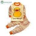 Bebé ropa de primavera Otoño de Los Bebés Ropa de Manga Larga a rayas t-shirt + Pants 2 Unids Trajes de bebé de algodón ropa de la muchacha del chándal
