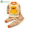 Roupas de bebê primavera Outono Bebê Meninos Roupas tarja de Manga Comprida T-shirt + Calças 2 Pcs Ternos do bebê do algodão roupas de menina treino