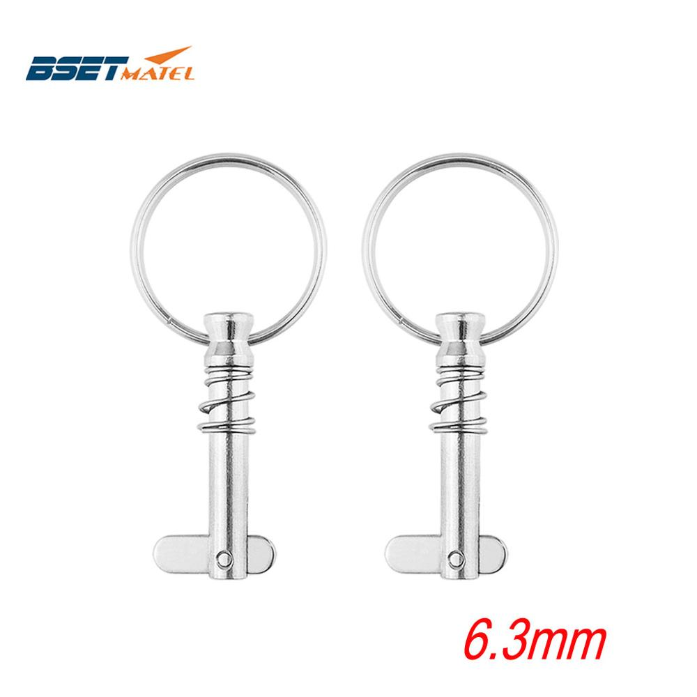 2PCS BSET MATEL Marine Grade 6.3*42mm 1/4 Inch Quick Release Pin With Ring For Boat Bimini Top Deck Hinge Marine Hardware