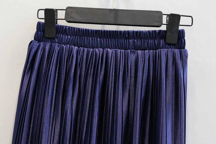 Alphalmoda Nieuwe Aankomst Vrouwen Geplooide Midi Rokken Elastische Taille Effen Kleur Shining Fashion Satijn Rokken in 6 kleuren
