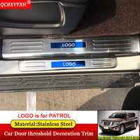 QCBXYYXH Car styling Stainless Steel Car Door threshold Decoration Trim Decoration Accessories For Nissan Patrol y62 2017 2018