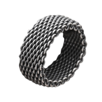 Handmade 925 Sterling Silver Wire Mens Braided Rings Vintage Woven Thai Silver Black Fine Jewelry