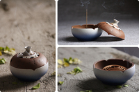 Chinese Pottery Incense With Sandalwood Furnace Ceramic Tower Stick Coil Handmade Incense Burner Plate Aromatherapy Censer