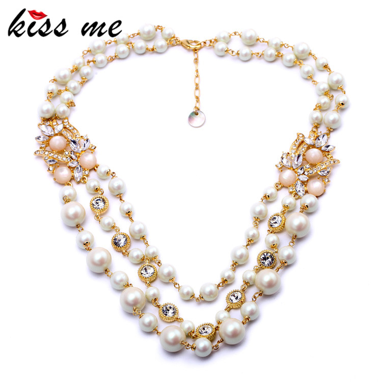 Noble Luxury Multi Layer Simulated Pearls Necklace Fashion Jewelry Women Accessories Mothers Day Gifts