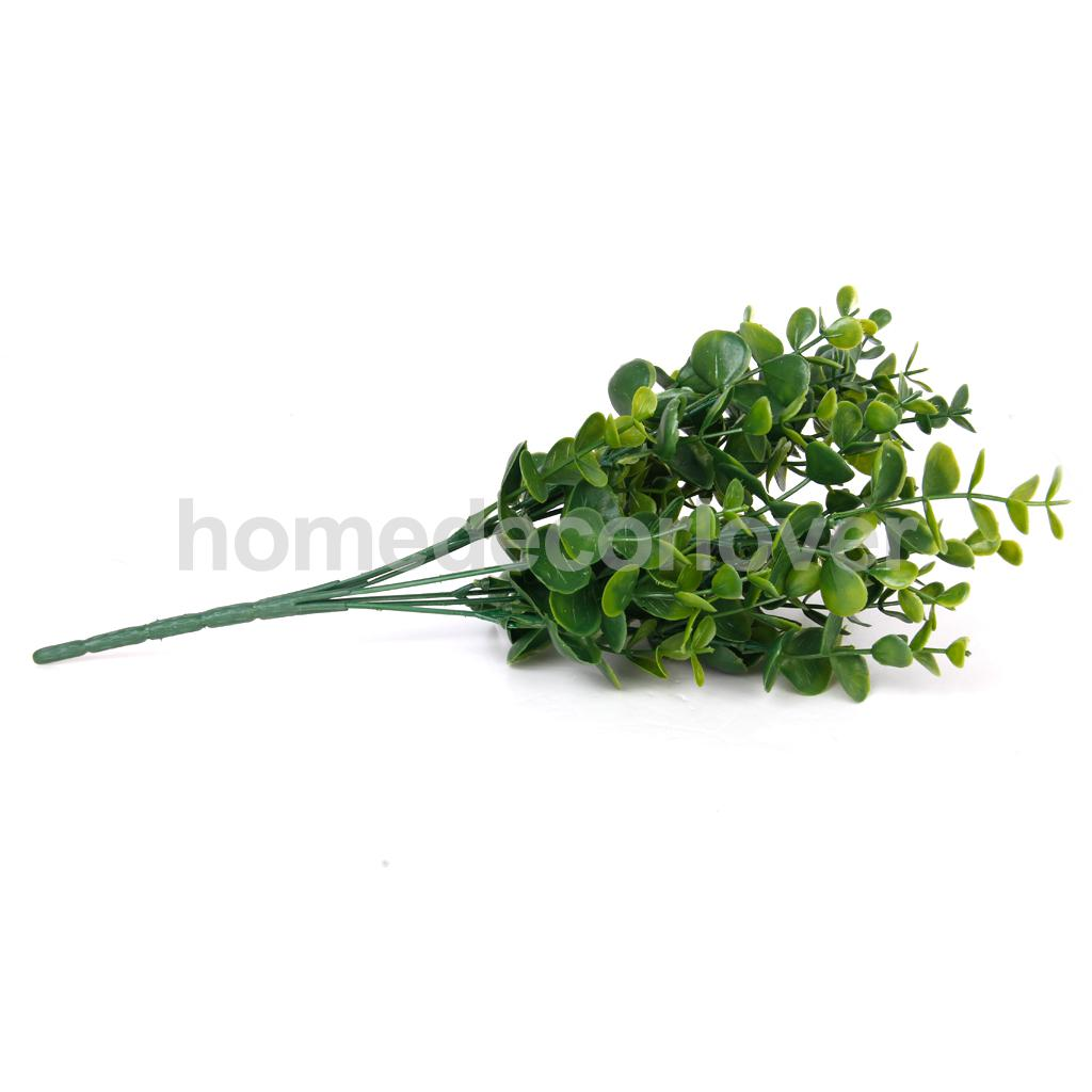 1x Artificial Large Leaves Green Plant 7 Branches Eucalyptus Grass Home Decor