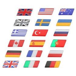 3d metal de alumínio japão coreia do sul eua turquia espanha indonésia vietname itália ucrânia emblema da bandeira do carro auto adesivos decalque