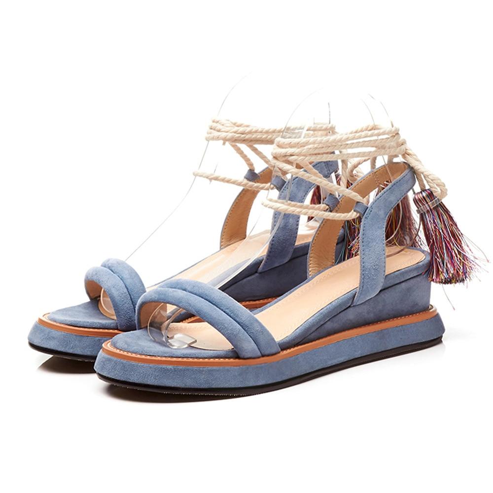 Zapatos Mujer Masgulahe Negro Llega Verano Mujeres Moda Sandalias Plataforma Suede Negro caramel 2018 Nuevo azul Cuero Color De Plataformas Correa Tobillo 1r0xqY0w4
