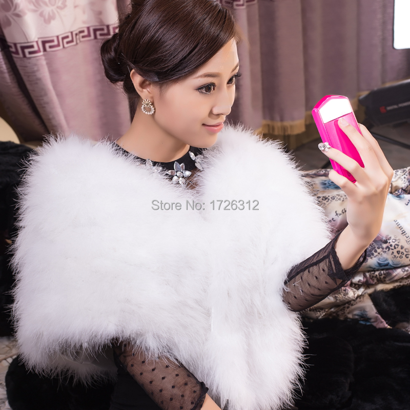 New ostrich fur grass shawl coat fur dress bride dress fur women's clothing