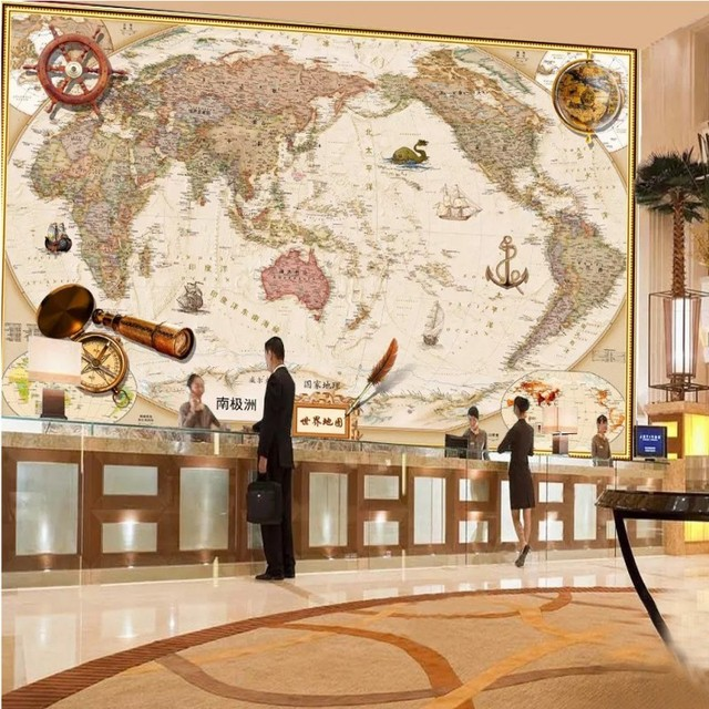 vintage chinese and english world map wallpaper company office hotelvintage chinese and english world map wallpaper company office hotel wall decoration murals wall covering study
