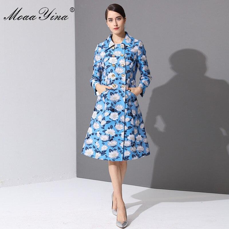 MoaaYina Fashion Designer Runway Windbreaker Coat Spring Women Long sleeve Flowers Double Breasted Lurex Slim Keep warm Overcoat